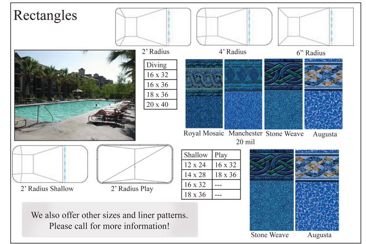Rectangle inground swimming pool kits